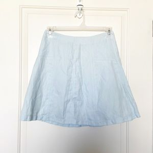 LOFT • Light Was Chambray Fit & Flare Mini Skirt